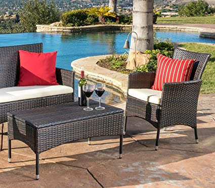 Amazon Com Pureco Patio Furniture Sets Wicker Modern Coffee Table
