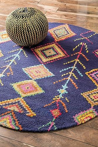 nuLOOM Belini Hand Tufted Wool Rug, 6 Round, Navy