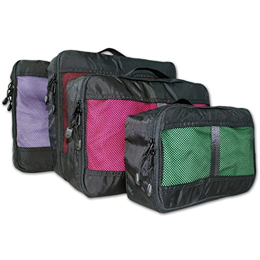 4 Set Packing Cubes Luggage Organizers - Durable, Lightweight Travel Accessory (SM, MD, LG, X-LG) (Black)