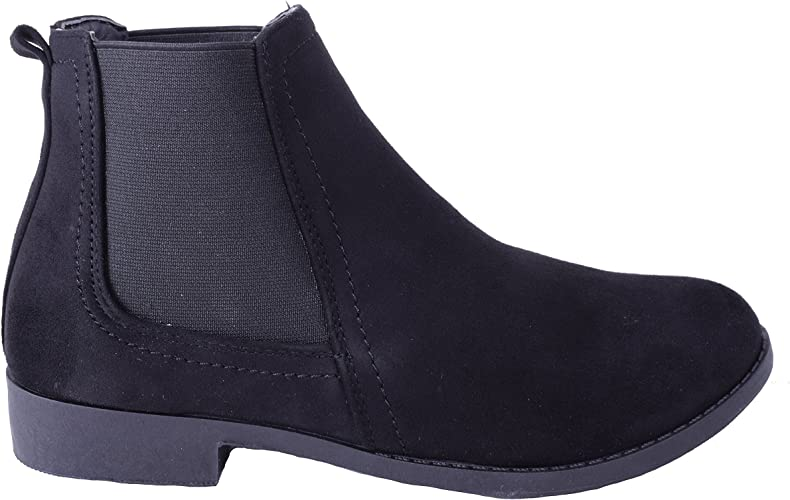 Womens Ladies Flat Ankle Boots Pull On
