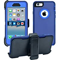 iPhone 6 / 6S Cover | 2-in-1 Screen Protector & Holster Case | Full Body Military Grade Edge-to-Edge Protection with carrying belt clip | Drop Proof Shockproof Dustproof | Navy Blue / Blue