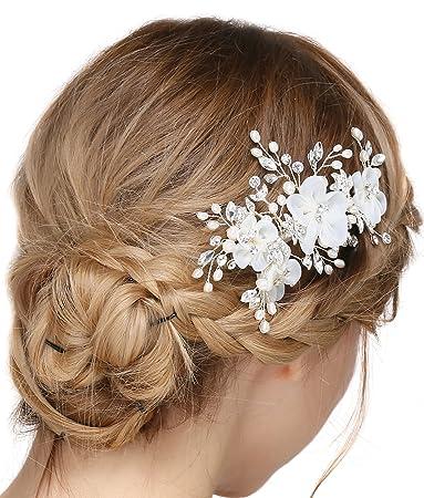 Amazon Com Babeyond Crystal Bridal Hair Side Clip Rhinestone Pearl