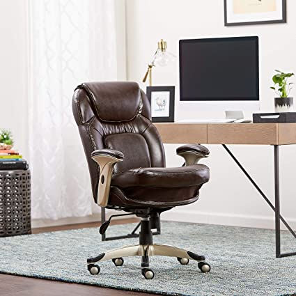 B Serta Back In Motion Health And Wellness MidBack Office Chair Frye  Chocolate