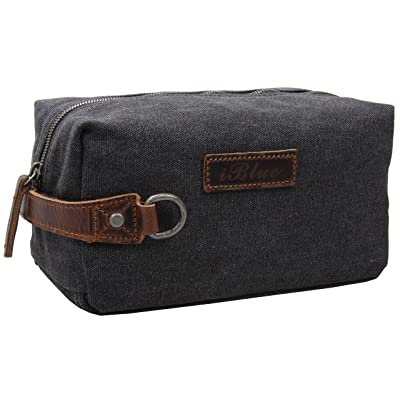 Iblue Canvas Toiletry Bag Shave Dopp Kit Comestic Travel Case with Thick Leather Handle #i526 on sale