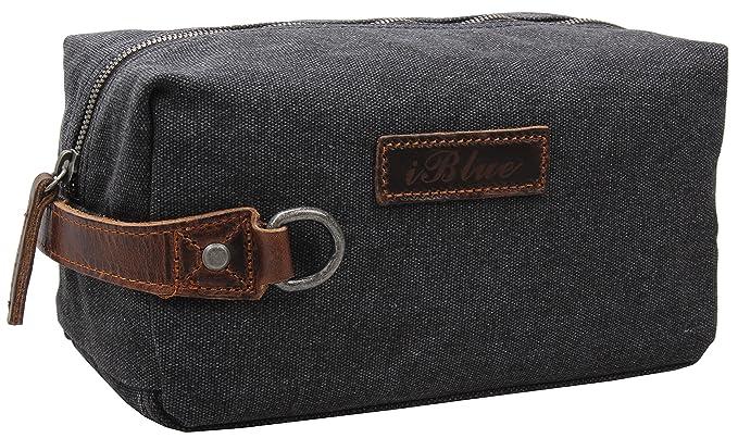 33d3b508e2 Iblue Travel Toiletry Bag Canvas Leather Bathroom Shaving Dopp Kit  i526(grey)