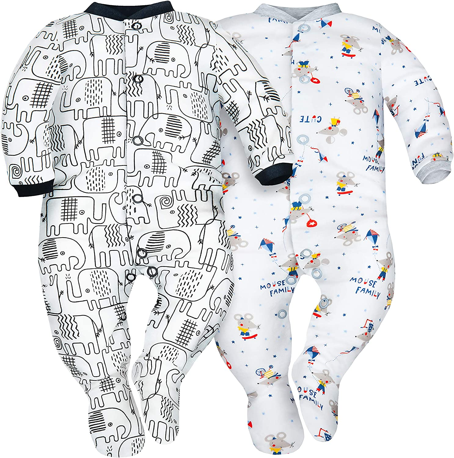100/% Eco Cotton Pack of 3 Color Mix Sibinulo Baby Boys Baby Girls Sleepsuits with Feet Sizes from 0 to 24 Months 9-24 Anti-Slip