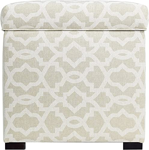 MJL Furniture Designs Tami Collection Fabric Upholstered Lift Top Storage Foot Rest Cube Ottoman