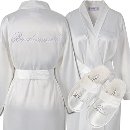 Varsany Ivory Rhinestone Bridesmaid Satin Bridal Dressing Gown & Spa ...