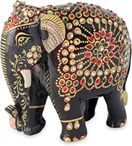 NOVICA Carved Wooden Zoo Animal Sculpture with Acrylic Stone Embellishments, Majestic Indian Elephant'
