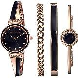 Anne Klein Gold and Navy Bangle Watch Set