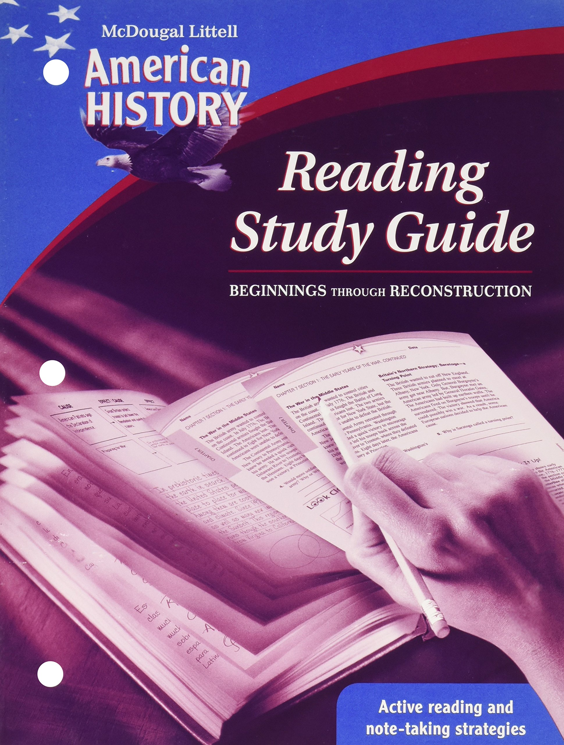 American history grades 6 8 beginnings through reconstruction reading study guide mcdougal littell american history mcdougal littell middle school