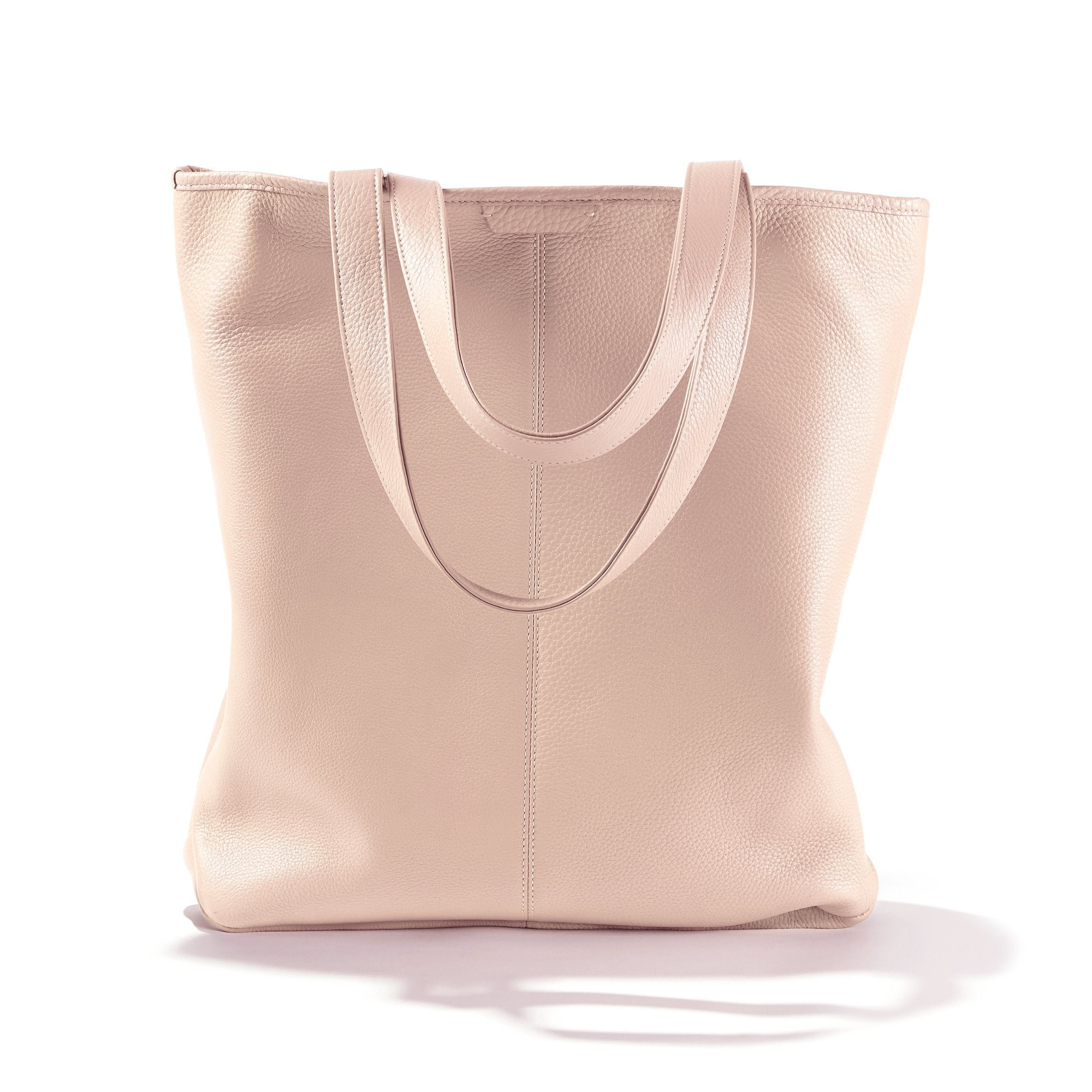 Uptown Vertical Tote - Full Grain Leather Leather - Rose (pink)