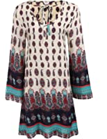 Zeagoo Women Bohemian Tie V Neck Vintage Printed Loose Casual Boho Tunic Dress
