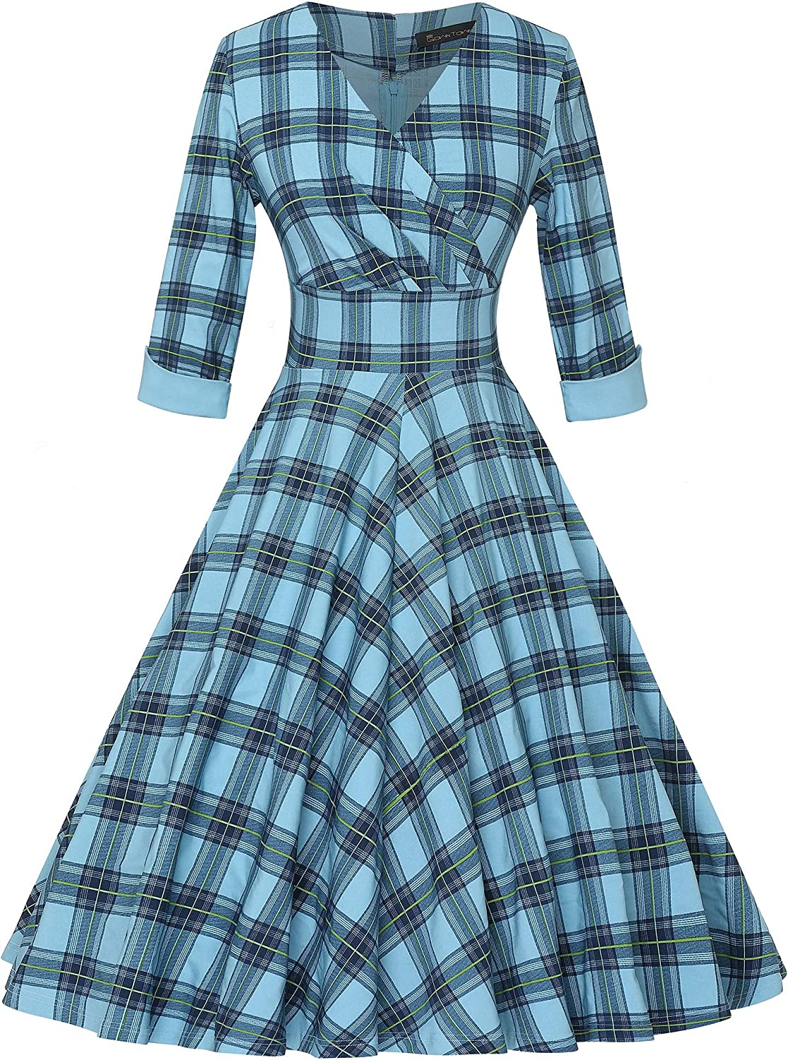 1950s Housewife Dress | 50s Day Dresses GownTown Womens 1950s Retro Vintage Wrap Party Swing Dress $32.99 AT vintagedancer.com