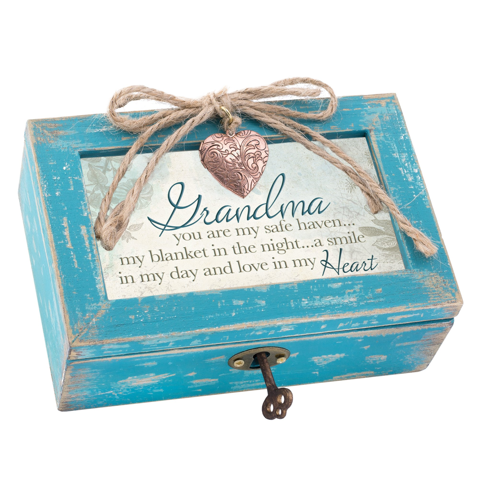Grandma a Smile in My Heart Teal Wood Locket Jewelry Music Box Plays Tune Wind Beneath My Wings