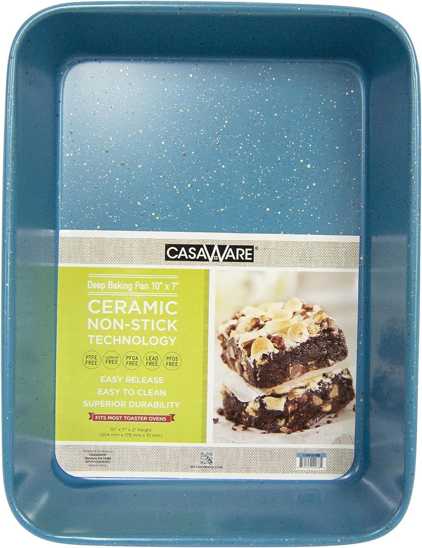 casaWare Toaster Oven Deep Baking Pan 10 x 7 x 2-inch Ceramic Coated Non-Stick (Blue Granite)