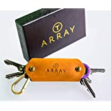 Leather Key Holder by ARRAY Design | Smart Key Holder Organizer with Brass Carabiner for up to 10 Keys | Key Chains for Men and Women