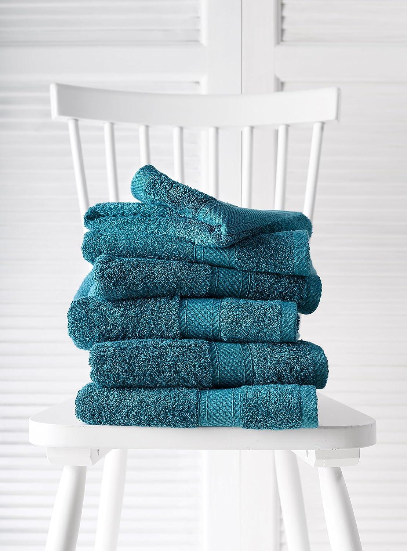 De Witte Lietaer 194848 Verde petrolio in cotone Vert Canard 100 x 50 cm Set di 6 asciugamani da bagno