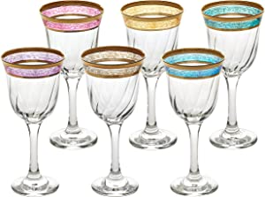 Lorren Home Trends White Wine Melania Collection Bowl, Set of 6, Multicolored