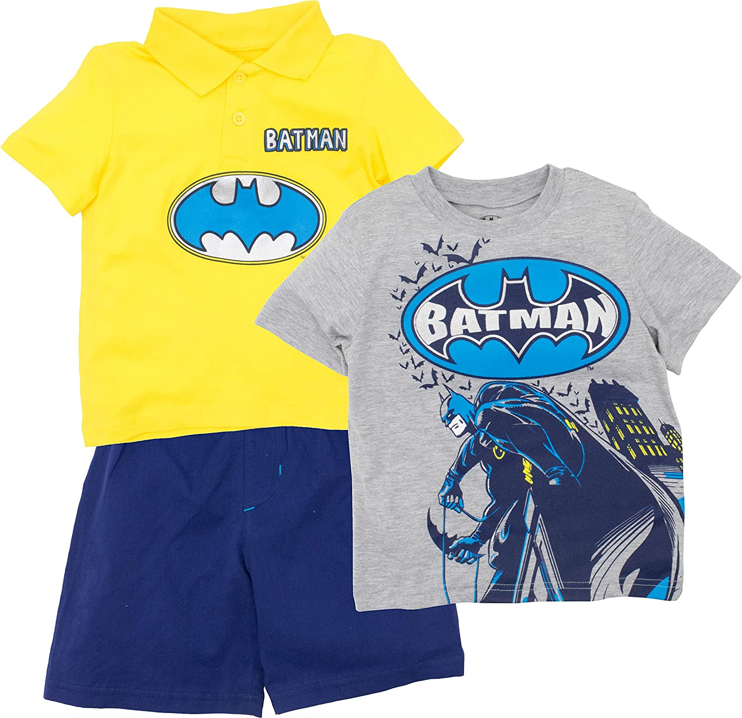 Warner Bros. Batman Toddler Boys' 3pc Polo, T-Shirt & Shorts Set, Yellow & Grey