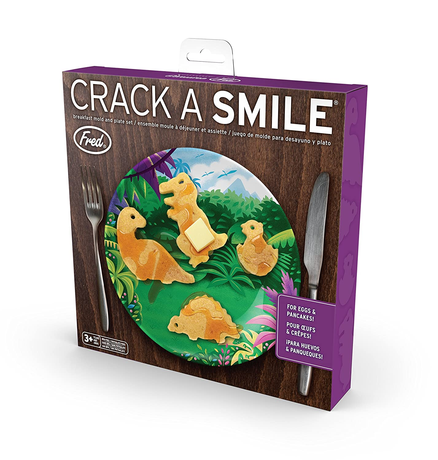 Amazon.com: Fred 5212672 CRACK-A-SMILE Silicone Egg/Pancake Mold and Plate Breakfast Set, Brown: Kitchen & Dining