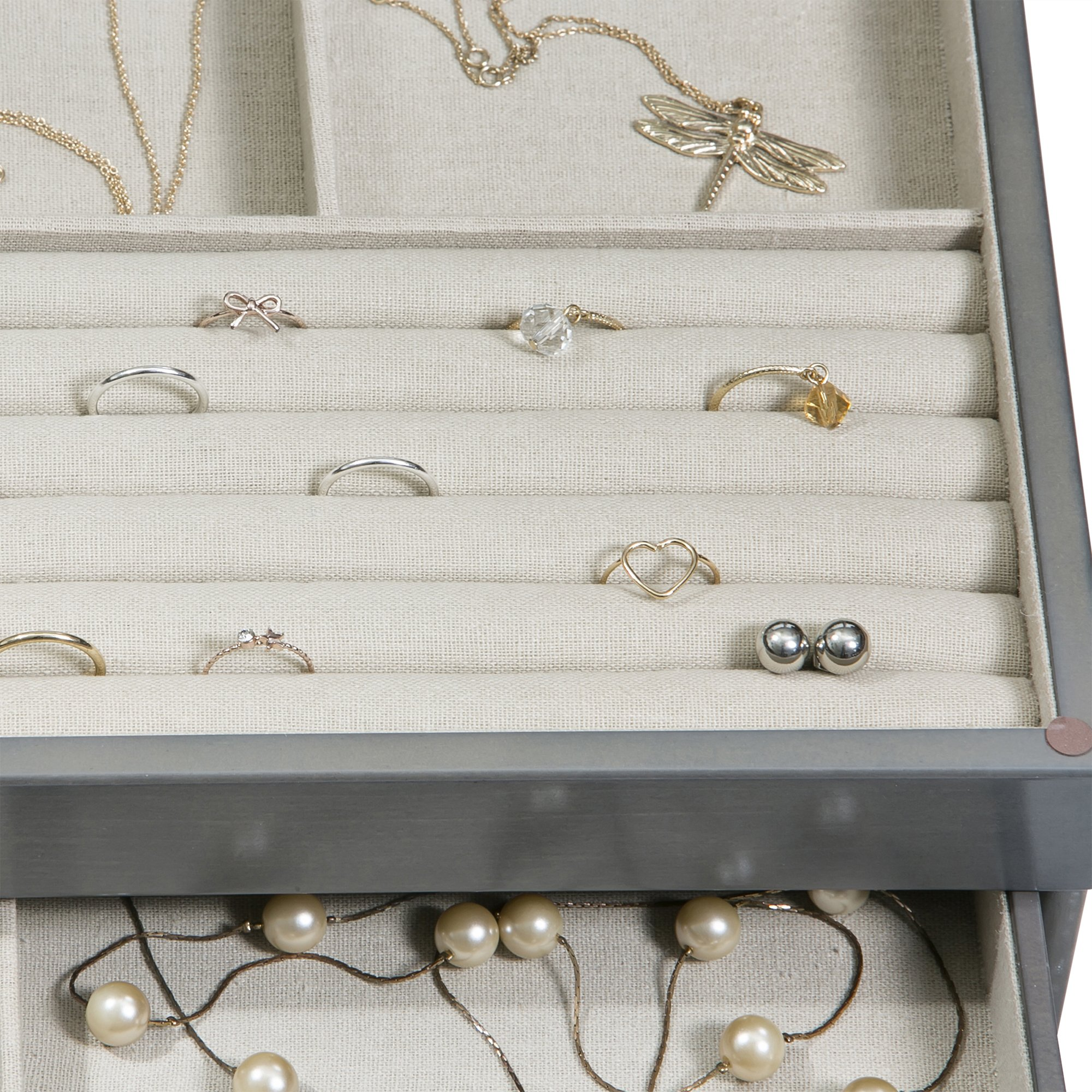 Mele & Co. Misty Glass Top Wooden Jewelry Box (Oceanside Grey Finish) by Mele & Co. (Image #7)