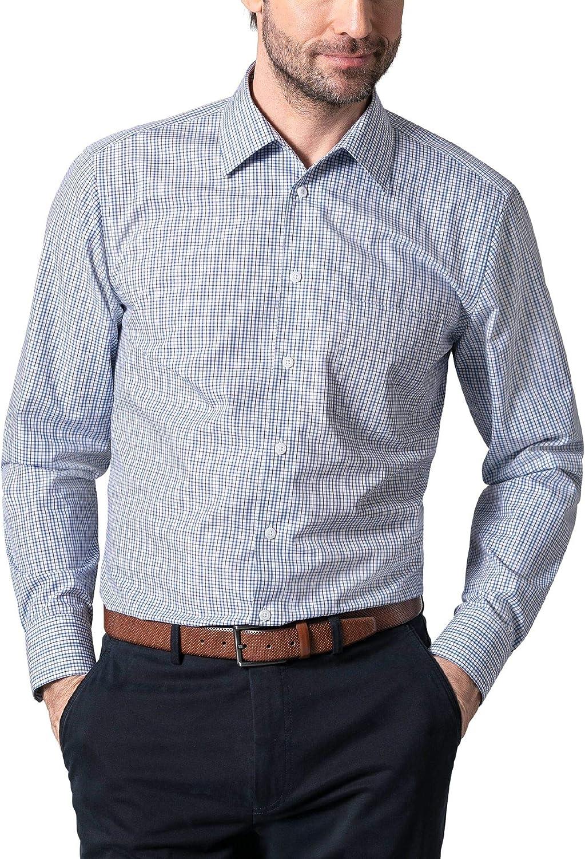 Walbusch - Camisa para Hombre (sin Aros, Cuello sin botón) Azul de Cuadros 44 ES - Manga Larga: Amazon.es: Ropa y accesorios