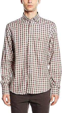 Macson Camisa Hombre Granate/Crema 39 cm (02): Amazon.es ...