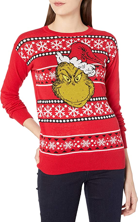 Dr. Seuss The Grinch Women's Ugly Christmas Sweaters Long Sleeve Pullover Ugly Christmas Sweaters