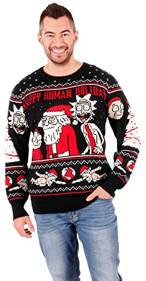 Rick and Morty Happy Human Holiday Adult Knit Sweater: Amazon.es: Ropa y accesorios