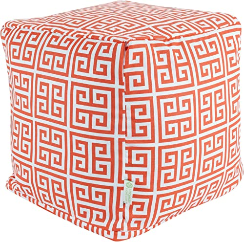 Majestic Home Goods Orange Towers Indoor Outdoor Bean Bag Ottoman Pouf Cube 17 L x 17 W x 17 H