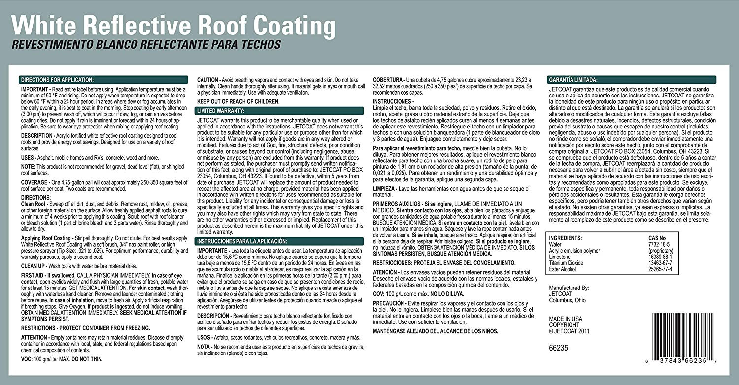 Jetcoat Cool King Elastomeric Acrylic Reflective Roof Coating, White, 5 Gallon, 5 Year Protection - - Amazon.com
