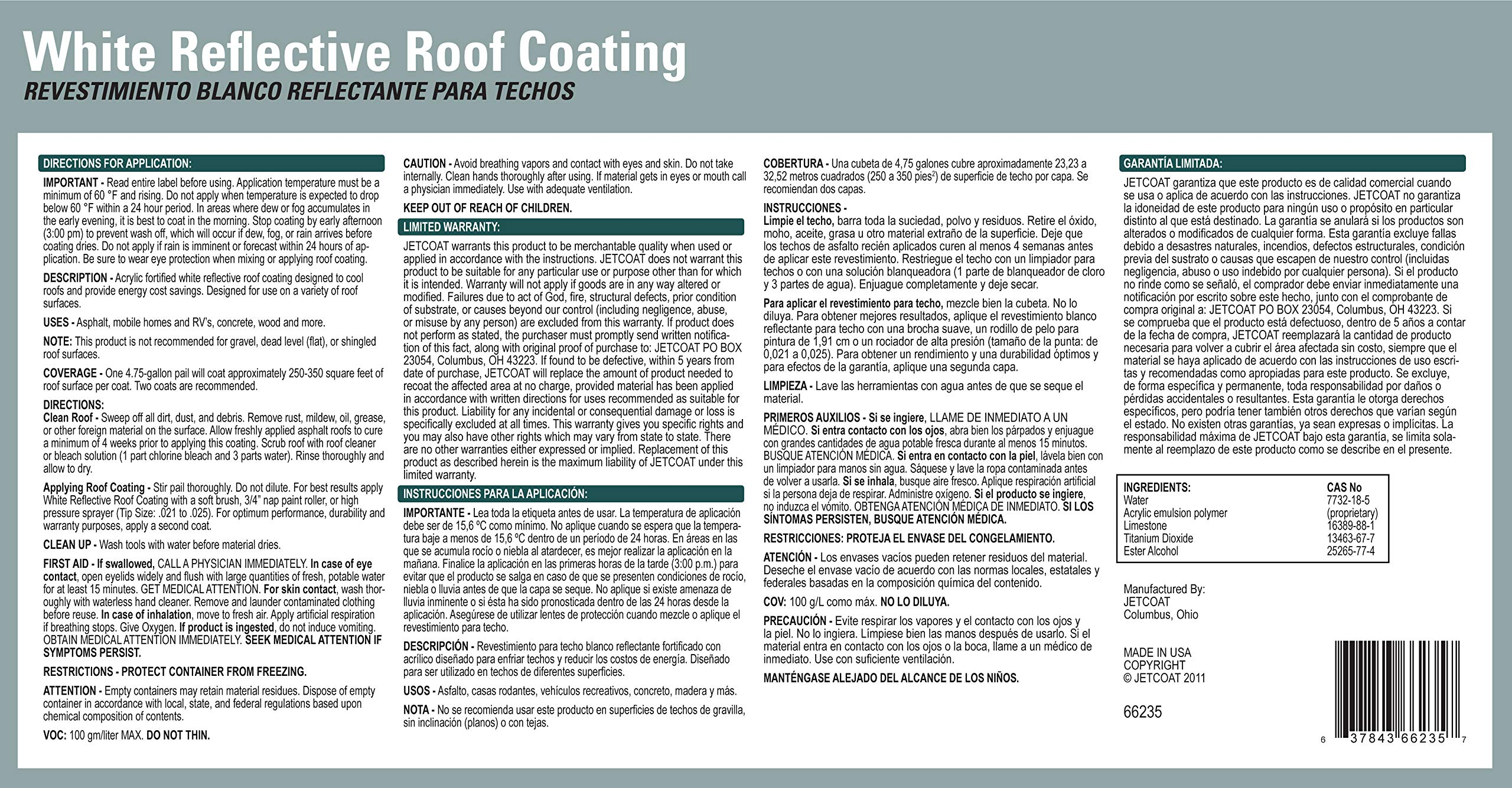 Jetcoat Cool King Elastomeric Acrylic Reflective Roof Coating, White, 5 Gallon, 5 Year Protection by Jetcoat (Image #5)