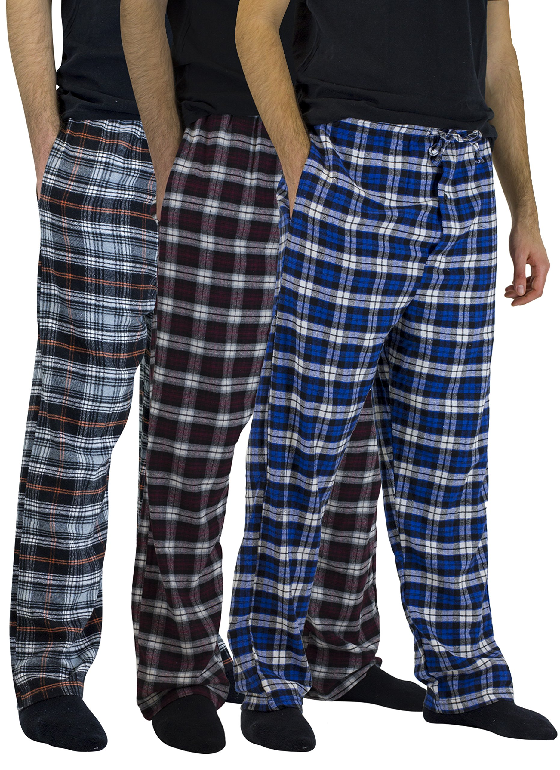 Real Essentials 3 Pack:Men's Cotton Super Soft Flannel Plaid Pajama Pants/Lounge Bottoms,Set 6-L by Real Essentials