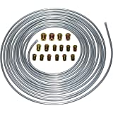 A-Team Performance 3/16'' Double Walled Galvanized Steel Tube Roll Brake Line Kit With 16 Piece Fittings For Hydraulic…