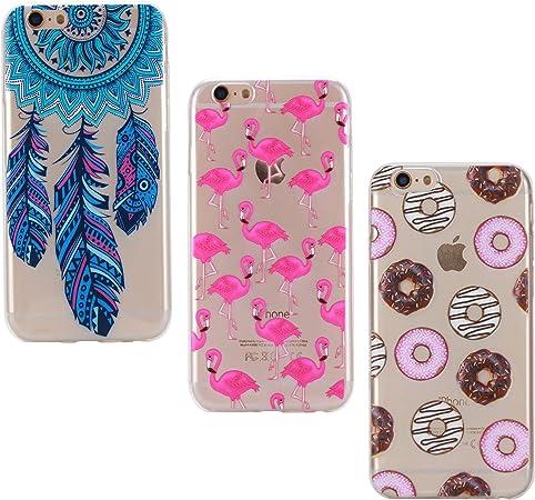 3X Cover iPhone 7 8, E-Unicorn Cover Custodia Apple iPhone 7 8 Silicone Morbido Trasparente Cover Fenicottero Piuma Campanula Acchiappasogni Ciambella ...