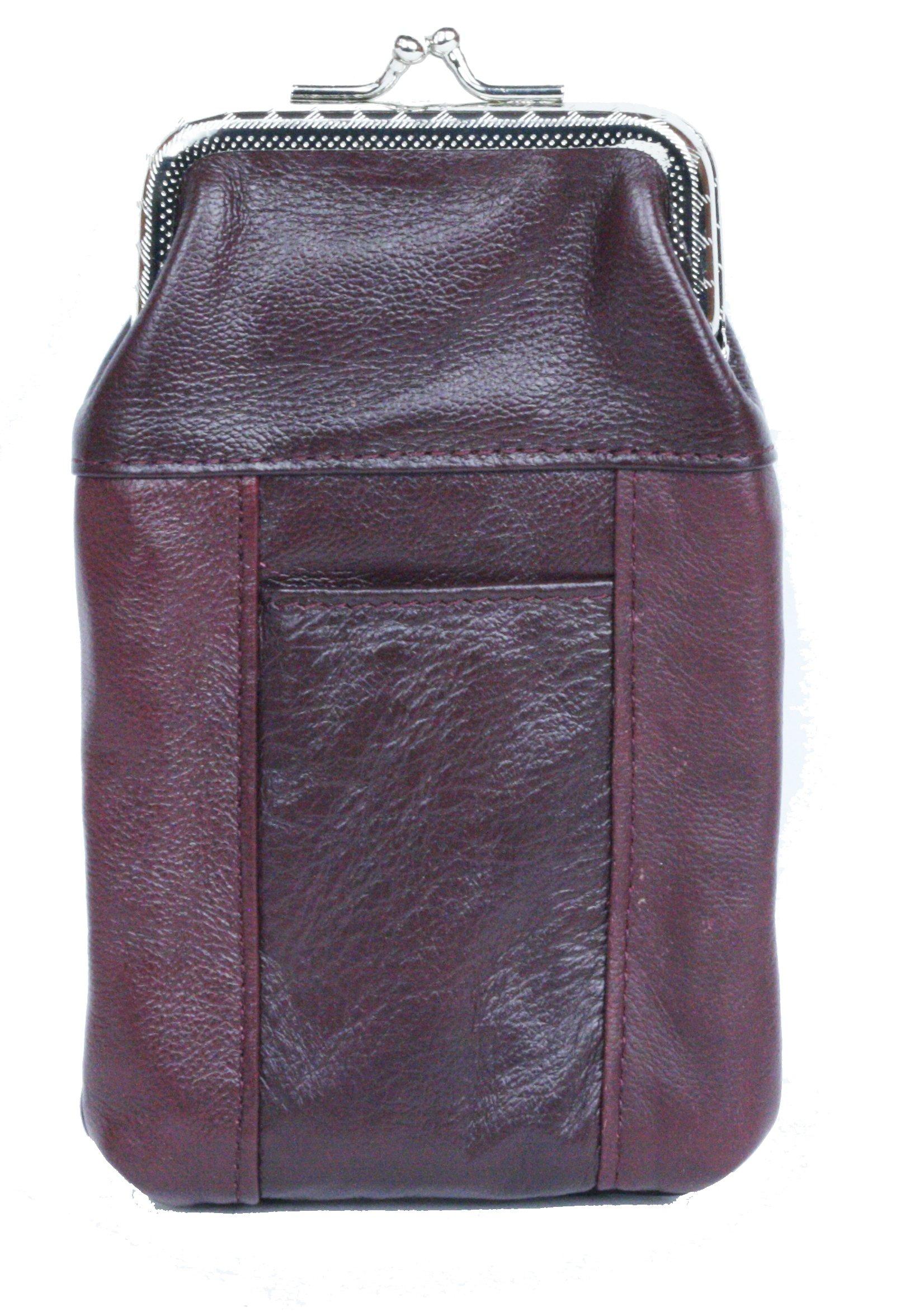 Womens Leather Cigarette Case & Lighter Holder Wine