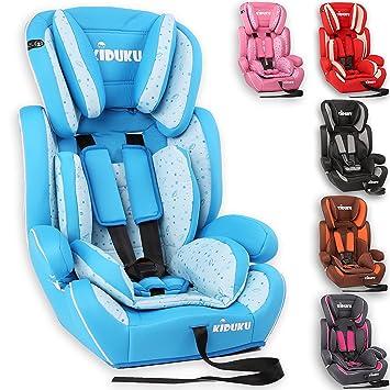 KIDUKU® Silla de coche, crece con el niño, 9 kg-36 kg (1-12 años), Grupo 1/2/3 (Azul claro/Blanco)