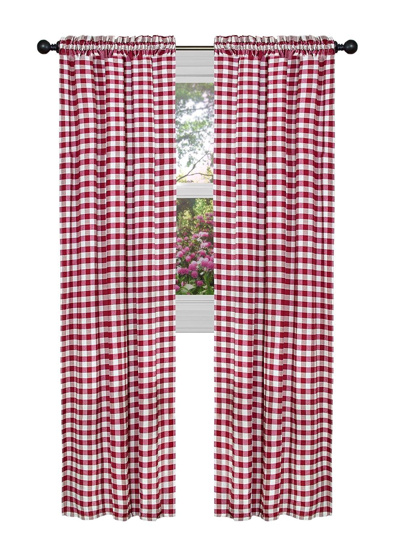 Amazon com achim home furnishings bcpn84bu12 buffalo check curtain panel 42 x 84 burgundy home kitchen