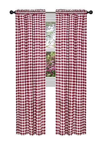 Amazon.com: Achim Home Furnishings Buffalo Check Curtain Panel, 42 ...