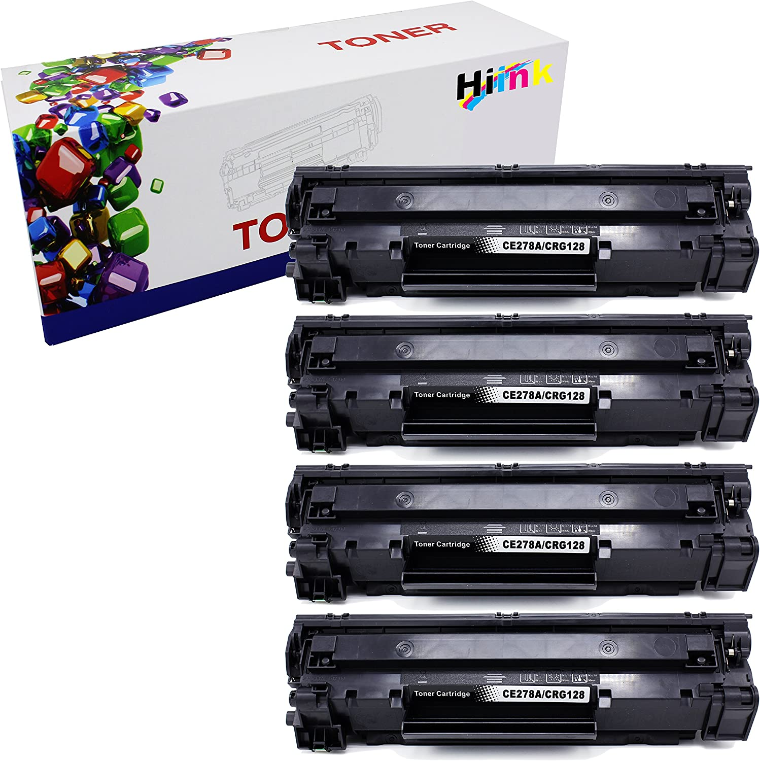 HIINK Compatible Toner for HP CE278A 78A Canon CRG128 Use with HP Laserjet Pro P1560 P1566 P1600 P1606 M1536 Canon imageclass D530 D550 FaxPhone L100 L190 MF4770n MF4570dw MF4770N(Black 4-Pack)