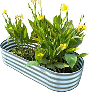 "Oval Metal Raised Garden Bed Planter 57""x24""x12"""