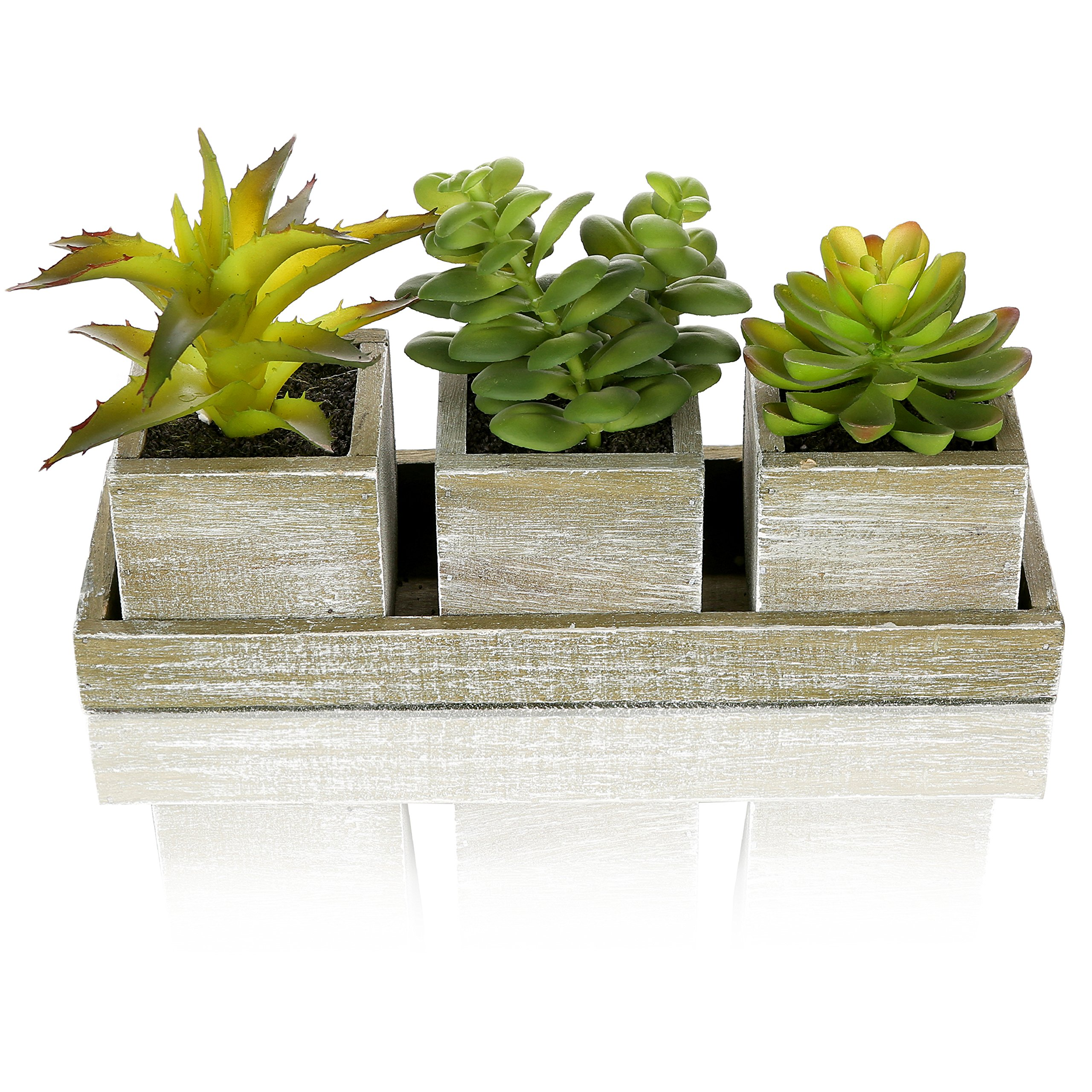 MyGift Set of 3 Realistic Artificial Succulent Plants w/Rustic Style Wood Square Pots & Rectangular Tray