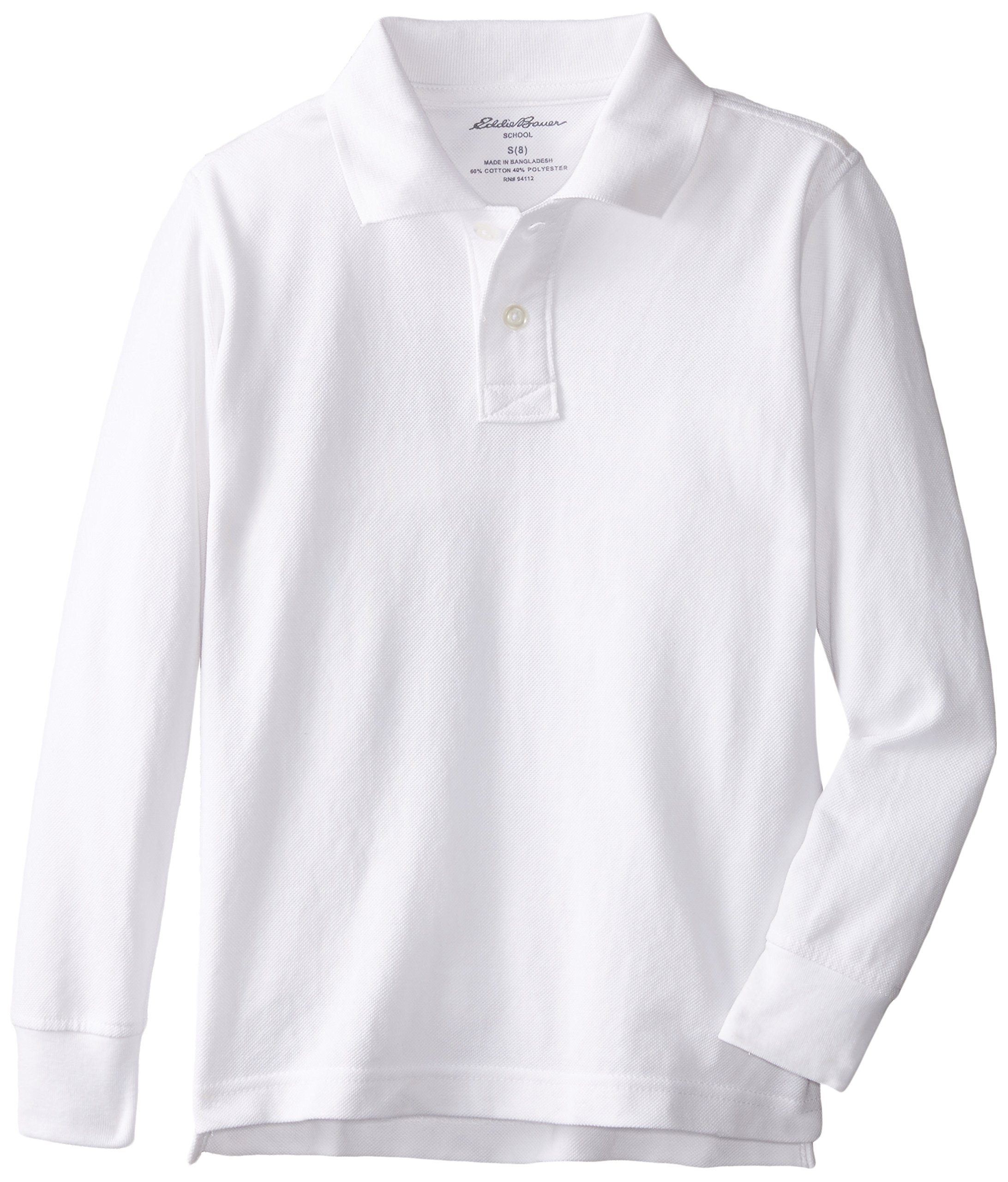 Eddie Bauer Boys' Short Long Sleeve Polo Shirt (More Styles Available), Long Sleeve White, 10/12