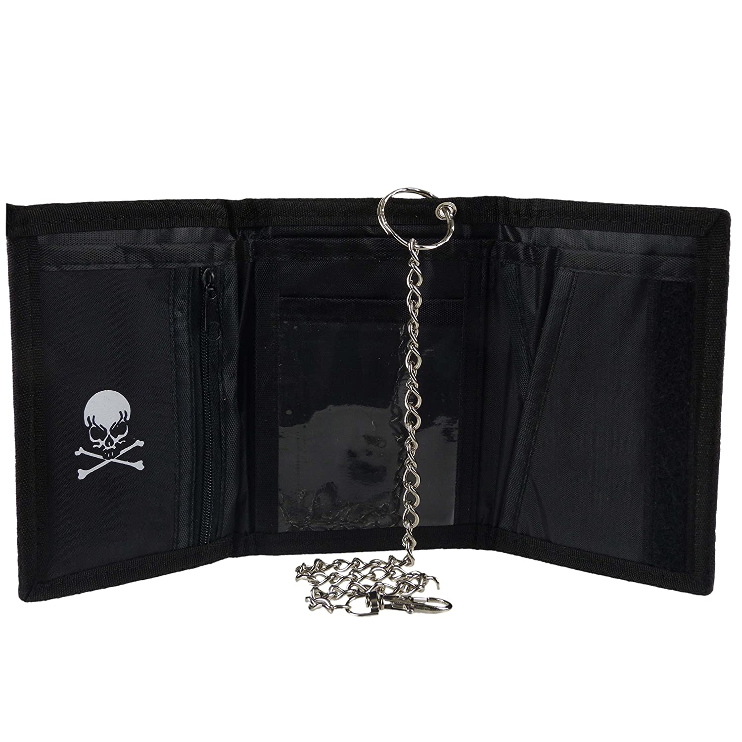 Unknown Mens Skull Cross Bone Tri-Fold Wallet With Chain Clip Pirate