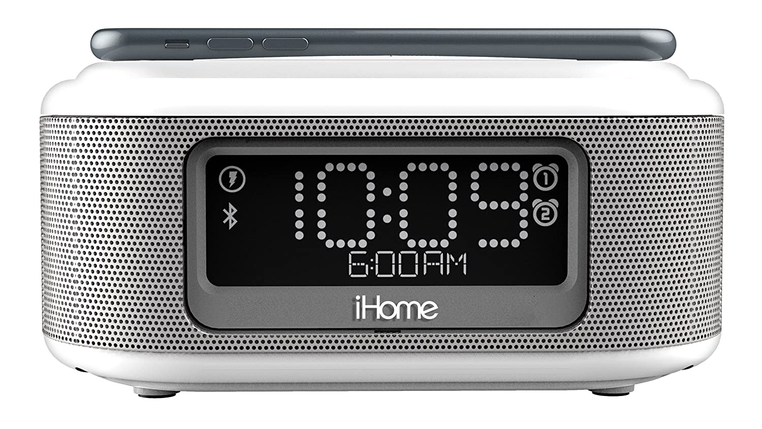 iHome Bluetooth Stereo Dual Alarm Clock with Speaker Phone Wireless Charging and 1 Ampusb Charging Port Radio Alarm Clock, White (iBTW23W)