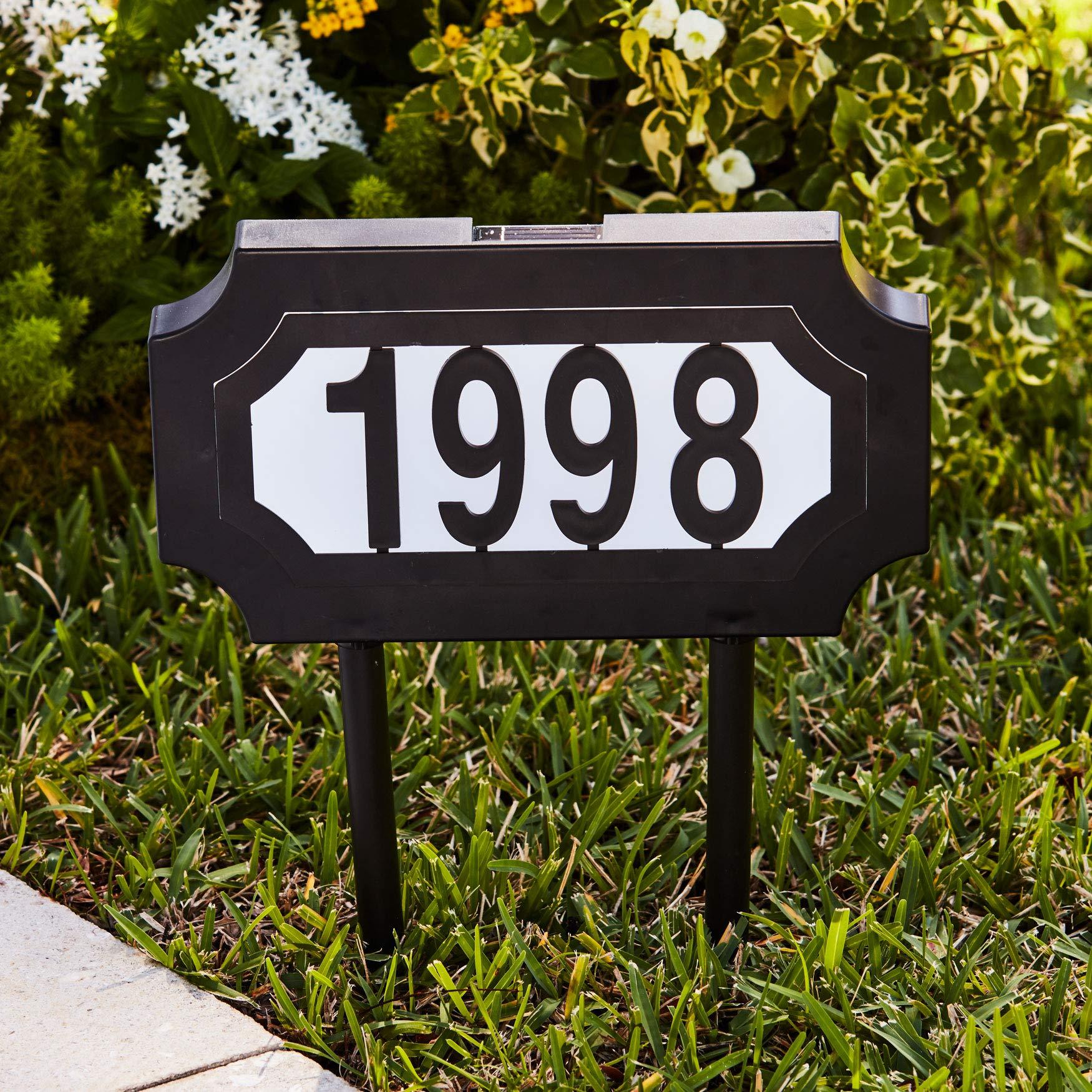 BrylaneHome Solar Light House Number Plaque - Black