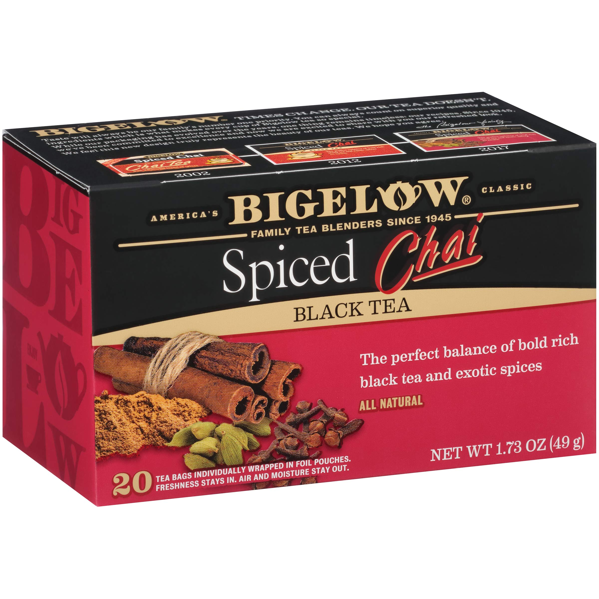 Bigelow Spiced Chai Tea 20 Bags (Pack of 6), 120 Tea Bags Total.  Caffeinated Individual Black Tea Bags, for Hot Tea or Iced Tea, Drink Plain or Sweetened with Honey or Sugar by Bigelow