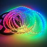 IKSACE 5V WS2812B 5M 16.5ft bande d'éclairage LED SMD 5050 RGB adressable individuellement 300 Pixel WS2812B IC couleur de rêve lumière 60leds / m IP67 blanc PCB imperméable à l'eau