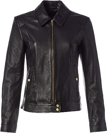 Cole Haan Women's Leather Shirt Collar Jacket